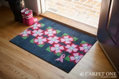 Dogwood Flowers | Pink Ribbon Welcome Mats