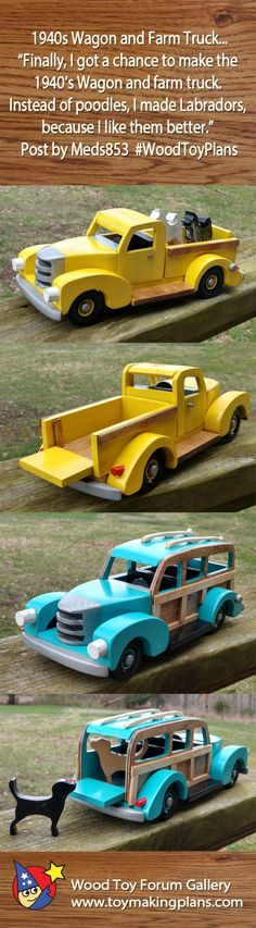 "Wagon and Farm Truck. ""Finally, I got a chance to make the Wagon and farm truck. Instead of poodles, I made Labradors, because I like them better."" Post by Wooden Toy Trucks, Wooden Car, Wooden Toys, Small Wood Projects, Diy Craft Projects, Transfer Images To Wood, Kids Wagon, Wood Plane, Wood Toys Plans"