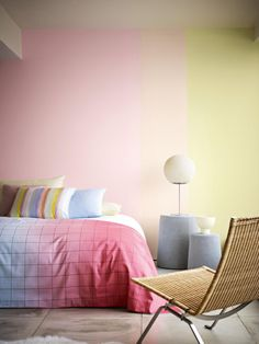 Colour Trend - Colour Block Stripe, Using Dulux Rock Candy 6, Frayed Hessian 3 and Fruit Fool 6