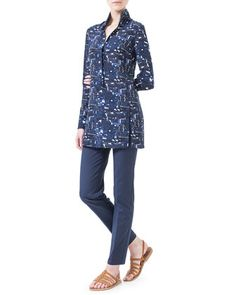 Chefchaouen-Print Polo-Style Tunic & Magda Slim-Fit Silk-Blend Pants, Azurite by Akris at Neiman Marcus.