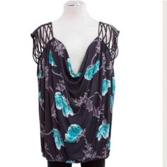 Free People Blue Floral Top S Black combo features jersey fabric, floral print, draped neckline in front and back, lattice detail at shoulders with a slender strap across the back, sleeveless.                                                           🔴No Trades🔴✅Bundle and Save✅ Free People Tops