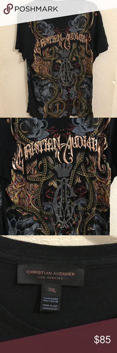 Men's Christian Audigier tshirt 100% cotton like new condition XXL Christian Audigier Shirts Tees - Short Sleeve
