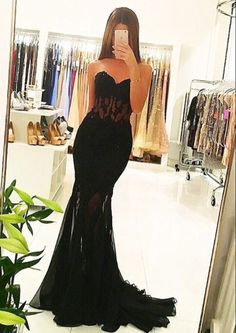 Appliques Long Mermaid Sheer Black Sexy Tulle Evening Dresses Sweetheart Sleeveless Formal Party Gowns