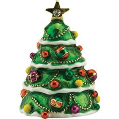 christmas tree enameled pewter thimbles