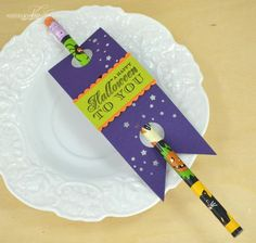 Halloween Pencil Tag by Nichole Heady for Papertrey Ink (August 2013)