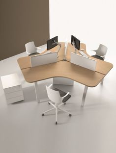 Discover our star office 3 people ATREO. Perfect for landscaping Bureau Open Space, Open Space Office, Office Space Design, Office Furniture Design, Workspace Design, Office Workspace, Office Interior Design, Home Office Decor, Space Interiors