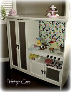 Entertainment center turned into a Kitchen for my girls ~ by Vintage Cove