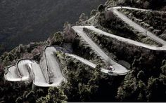 Road in Col de Turini, France.  20 miles of this road is part of the Monte Carlo Rally with 34 death-defying hairpin turns.