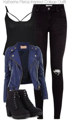 Katherine Pierce Inspired College Outfit Katherine Pierce In. Katherine Pierce Inspired College Outfit Katherine Pierce Inspired College Outfit by staystronng Teen Fashion Outfits, Edgy Outfits, Cute Casual Outfits, Mode Outfits, Grunge Outfits, Outfits For Teens, Girl Outfits, Black Outfit Grunge, Spring Outfits