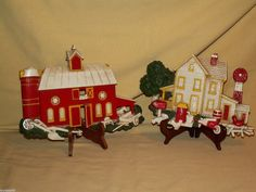 FARM PLAQUE SET 2 HOMCO BARN HOUSE STABLE WALL HANGING 7369 A B 1975 PAIR HORSE