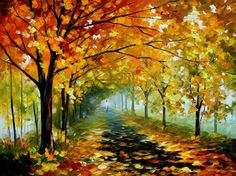 Forest landscape Light In The Fog  autumn oil by AfremovArtStudio