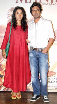 Nawazuddin Siddqui with Tannishtha Chatterjee at #ManjhiTheMountainMan success bash. #Bollywood #Fashion #Style #Beauty