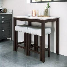This 3 Piece Pub Table Set is a modern contemporary dining set for two. An elegant marble top table is matched with two fabric seats perfect for small spaces. It's a simple yet classic accent furniture that can brighten up any room. Small Pub Table, Small Kitchen Tables, Table For Small Space, Furniture For Small Spaces, Small Dining, Contemporary Dining Sets, Contemporary Home Decor, Modern Decor, Modern Design