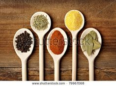 collection of various food ingredients in wooden spoons by Picsfive, via Shutterstock