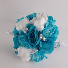 2pc set: Bouquet&boutonniere.Turquoise White Silver Bridal Bouquet-Rose Peony. Winter wedding bridal bouquet on Etsy, $38.99