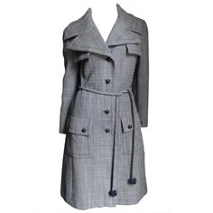 1960's Christian Dior Houndstooth Wool Trench coat   From a collection of rare vintage coats and outerwear at http://www.1stdibs.com/fashion/clothing/coats-outerwear/