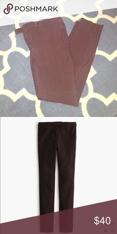 "Bittersweet Chocolate J Crew Ryder Pants size 8 Size 8 J Crew Ryder Pants in bittersweet chocolate color. Wonderful fitted pants but I have lost weight and they no longer fit. Purchased in December. Worn several times, but still in great condition. Second photo is to show fit. Sits above hip. Fitted through hip and thigh, with a skinny leg. 29"" inseam. J. Crew Pants Skinny"
