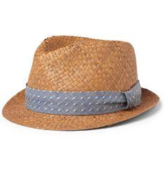 Rag & bone Cotton-Dobby Trimmed Straw Trilby Hat | MR PORTER
