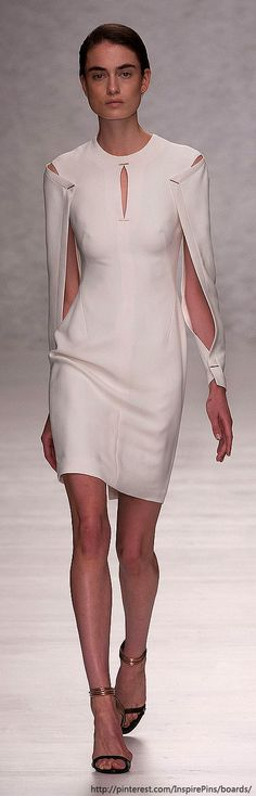 Open Sleeve Dress - draped & pinned sleeves; fashion design details…