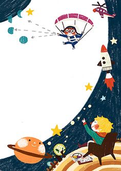 Cute illustration of The Little Prince Wallpaper Powerpoint, Background Powerpoint, Doodle Frames, Kids Background, Cartoon Background, Space Party, Space Theme, Borders For Paper, Creative Posters