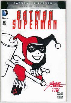 Batman Superman Original Harley Quinn Sketch A. Batman Superman Comic, Batman Comic Books, Marvel Dc Comics, Comic Book Heroes, Rare Comic Books, Online Comic Books, Comic Books For Sale, Harley Quinn, Batman Versus