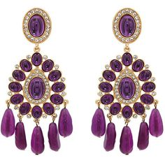 Kenneth Jay Lane Women's Embellished Double-Drop Earrings ($139) ❤ liked on Polyvore featuring jewelry, earrings, purple, stud drop earrings, purple earrings, clip on stud earrings, purple clip on earrings and beaded earrings