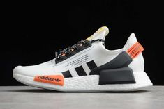 Iridescent Three Stripes then pop on the side paneling while a gradient boastful adidas spell out catches the eye's attention… Nmd R1, Adidas Nmd_r1, Red Accents, Red Black, Solar, High Top Sneakers, Brand New, Eye, Clothes