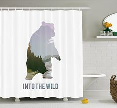 camping theme decor - Cabin Decor Shower Curtain by Ambesonne, Wild Animals of Canada Survival in the Wild Theme Hunting Camping Trip Outdoors, Fabric Bathroom Decor Set with Hooks, 70 Inches, Multicolor * Click on the image for additional details. (This is an affiliate link) #CampingSupplies Bathroom Decor Sets, Camping Theme, Camping Supplies, Shower Curtain Sets, Wild Animals, Hooks, Hunting, Survival, Canada