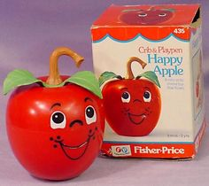 Happy Apple baby toy from Fisher-Price.I still have mine from my childhood and have passed on to my own children! My Childhood Memories, Childhood Toys, Sweet Memories, Jouets Fisher Price, Fisher Price Baby Toys, Nostalgia, Retro Toys, Vintage Toys 1970s, Vintage Games