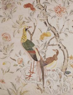 Detail of the wallpaper in the Chinese Bedroom at Felbrigg Hall, showing pheasants. ©National Trust Images/John Hammond