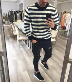 Striped sweater distressed jeans and sneakers by @vincenzoragnacci [ http://ift.tt/1f8LY65 ]