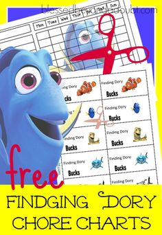 The perfect Finding Dory Chore Chart with incentive cheerful attitude bucks! It's FREE!