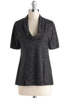 Overnight Travel Top in Pepper. In order to arrive at your destination with the beautiful glow of the sunrise blanketing the scene, slip into this cozy cowl neck - a ModCloth exclusive - and get ready to roadtrip through the night! #black #modcloth