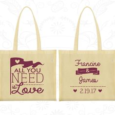 All you Need is Love Bags, Wedding Bags, Love Wedding, Romantic Wedding, Hearts, Wedding Day Tote (410)
