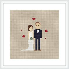 CUSTOM Wedding PDF cross stitch pattern Personalized portrait
