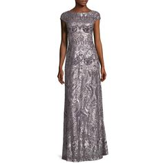 Vera Wang Women's Embellished Maxi Gown - Light/Pastel Grey, Size 6 ($169) ❤ liked on Polyvore featuring dresses, gowns, vera wang gowns, vera wang evening gowns, gray evening gown, pastel maxi dress and grey gown
