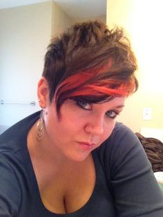 Asymmetrical pixie cut with red ombre