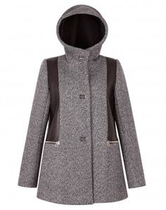 Mixed media coat with a chic hood.
