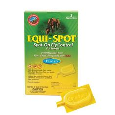 Farnam Home and Garden 100506084 Equi-Spot Fly Control for Horses, 3-Pack by Farnam Home & Garden. $15.95. Easy To Apply. One Application Lasts Up To Two Weeks. Kills and Repels Flies, Ticks, Mites and Mosquitoes. for Pastured Horses. Equi-spot 100506084 spot-on fly control for horses is effective at keeping flies and other pesky insects under control. Just apply in several spots along the horse's back and legs as directed. One application lasts up to two weeks. ...