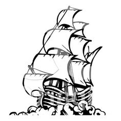 Pirate Ship In Art Graphic Coloring Page : Kids Play Color Pirate Ship Drawing, Boat Drawing, Pirate Boats, Pirate Kids, Pirate Illustration, Pirate Ship Tattoos, Ship Silhouette, Old Sailing Ships, Literary Tattoos