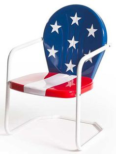 Metal Lawn  Chair | Retro Metal Chairs | Garden Fireworks Summer Stars Stripes Red White Blue Keep.com Kathy Myers