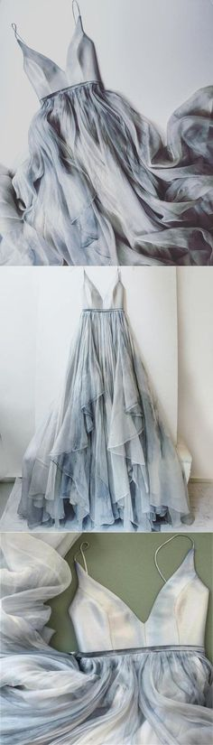 Long Spaghetti Straps Simple V Neck Tulle cheap Pretty Party Prom Dresses #promdresses