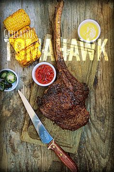 Naudan tomahawk pihvi Steak, Yummy Food, Cheese, Dinner, Awesome, Gastronomia, Dining, Delicious Food, Food Dinners