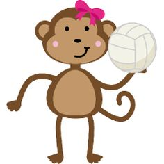 Cute Volleyball Girl Monkey