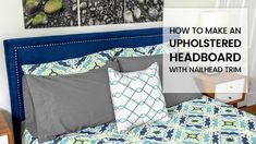 DIY Upholstered Headboard with Nail Head Trim No Sew Curtains, How To Make Curtains, Diy Home Decor Projects, Furniture Projects, Diy Headboards, White Home Decor, Nailhead Trim, Beautiful Bedrooms, Fabric Decor