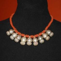 Tribal Belly Dance Jewelry Rajasthani Necklace of Old Tribal Silver Gajre Pendants