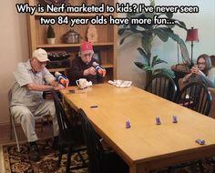 Old men massacring peeps with Nerf guns.