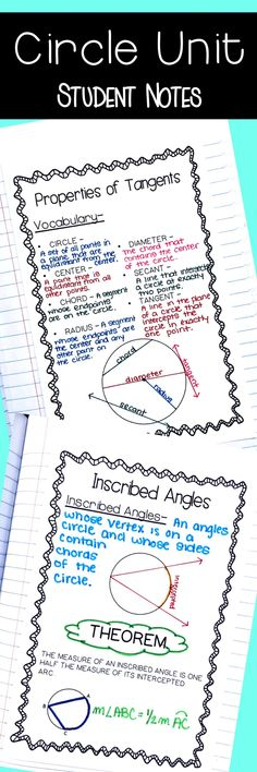 Circle Unit Student Notes. Circle Theorems. Arc and angle measures, inscribed angles, properties of tangents and chords. equations of circles
