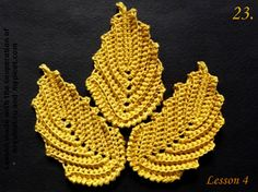 Irish crochet embossed leaves with variants - free pattern