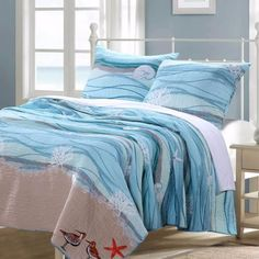 Greenland Home Fashions Maui Bonus Reversible Quilt Set Size: Full/Queen Nautical Bedding Sets, Beach Bedding, Coastal Bedding, Luxury Bedding, Tropical Bedding, Modern Bedding, Blue Bedding, Beach Quilt, Luxury Linens
